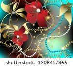 3d floral jewelry gemstones...   Shutterstock .eps vector #1308457366