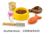 Stock photo pet food and accessories on white background brush for grooming leash and toys for dog or cat s 1308469633