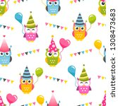 seamless pattern with owls with ... | Shutterstock .eps vector #1308473683