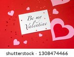 valentine's day card and red... | Shutterstock . vector #1308474466
