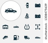 automobile icons set with seat...   Shutterstock . vector #1308475639