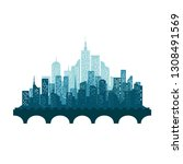 modern city skyline vector... | Shutterstock .eps vector #1308491569