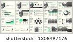 presentation template. green... | Shutterstock .eps vector #1308497176
