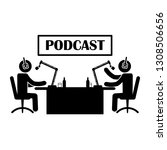 podcast illustration or icon.... | Shutterstock .eps vector #1308506656