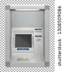 atm bank machine with a card... | Shutterstock .eps vector #1308509086