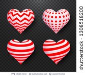 set of 3d hearts with red and... | Shutterstock .eps vector #1308518200