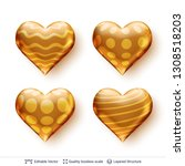 set of 3d hearts with golden... | Shutterstock .eps vector #1308518203