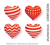 set of 3d hearts with red and... | Shutterstock .eps vector #1308518206
