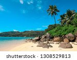 luxury white sand beach with... | Shutterstock . vector #1308529813