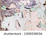 wall peeling paint wallpaper... | Shutterstock . vector #1308538036