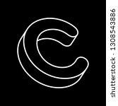 isometric thin font c. black... | Shutterstock .eps vector #1308543886