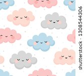cute colorful cloud smiling... | Shutterstock .eps vector #1308544306