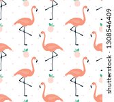 flamingo seamless pattern... | Shutterstock .eps vector #1308546409