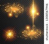light effect glow. star flashed ... | Shutterstock .eps vector #1308567946