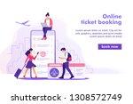 flight tickets online booking... | Shutterstock .eps vector #1308572749