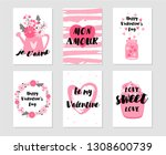 collection of the valentine's... | Shutterstock .eps vector #1308600739