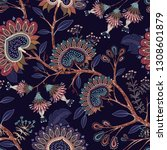 colorful wallpaper with paisley ... | Shutterstock . vector #1308601879