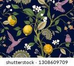 floral seamless pattern....   Shutterstock . vector #1308609709