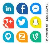 Small photo of Kiev, Ukraine - October 25, 2018: Set of popular social media icons printed on white paper: Linkedin, Facebook, Messenger, Twitter, Periscope, Zello, Snapchat, Google Plus, Vine.