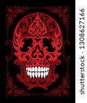 tattoo skull illustration in... | Shutterstock . vector #1308627166