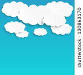 paper clouds background with... | Shutterstock .eps vector #130863170
