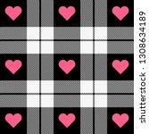 valentine day tartan plaid.... | Shutterstock .eps vector #1308634189