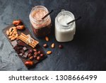 banana and chocolate smoothie... | Shutterstock . vector #1308666499