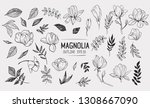 set of magnolia with leaves.... | Shutterstock .eps vector #1308667090
