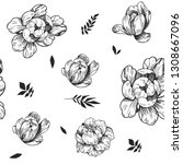 seamless pattern with peony... | Shutterstock .eps vector #1308667096
