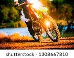 man riding enduro motorcycle on ... | Shutterstock . vector #1308667810