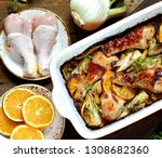 dish with fennel. baked chicken ... | Shutterstock . vector #1308682360