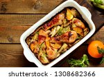 dish with fennel. baked chicken ... | Shutterstock . vector #1308682366