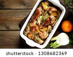 dish with fennel. baked chicken ... | Shutterstock . vector #1308682369