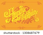 happy birthday lettering logos | Shutterstock .eps vector #1308687679