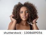 beauty portrait of african...   Shutterstock . vector #1308689056