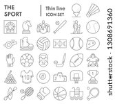 sport thin line icon set  game... | Shutterstock .eps vector #1308691360