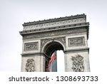 arc de triomphe in paris ... | Shutterstock . vector #1308693733