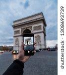 arc de triomphe in paris ... | Shutterstock . vector #1308693739