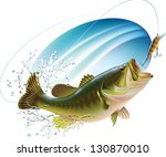 largemouth bass is catching a... | Shutterstock .eps vector #130870010