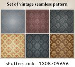 set of retro wallpaper and... | Shutterstock .eps vector #1308709696
