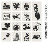 reporter. set of icons vector | Shutterstock .eps vector #130871114