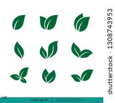 leaf icon nature symbol vector... | Shutterstock .eps vector #1308743953