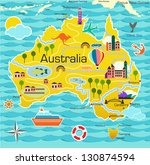 cartoon map of australia | Shutterstock .eps vector #130874594