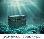 treasures on the seabed. sunken ... | Shutterstock . vector #1308747430