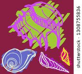 shell icons set or seashell... | Shutterstock .eps vector #1308755836