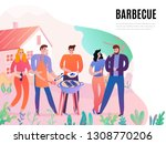 group of young people with meat ... | Shutterstock .eps vector #1308770206