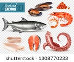 seafood realistic set with... | Shutterstock .eps vector #1308770233