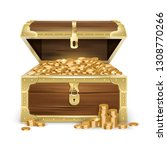realistic open old wooden chest ... | Shutterstock .eps vector #1308770266
