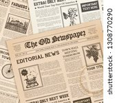 old newspaper pages with coffee ... | Shutterstock .eps vector #1308770290