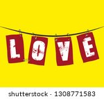 the inscription love on hanging ... | Shutterstock .eps vector #1308771583